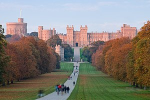 Windsor Castle at sunset as viewed from the Lo...