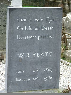 Gravestone of William Butler Yeats, Poet and S...