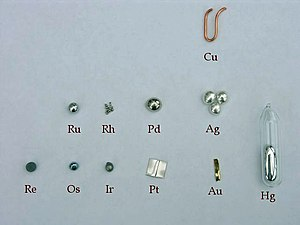Assortment of precious metal elements.