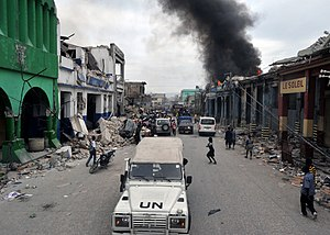 Debris in the streets of the Port-au-Prince ne...