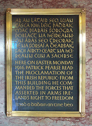 A plaque commemorating the Easter Rising at th...