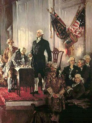 English: George Washington presiding over the ...