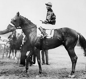 Sir Barton and jockey Johnny Loftus, 1919 Prea...