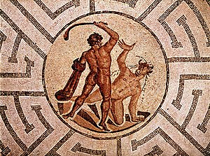 Roman mosaic picturing Theseus and the Minotau...