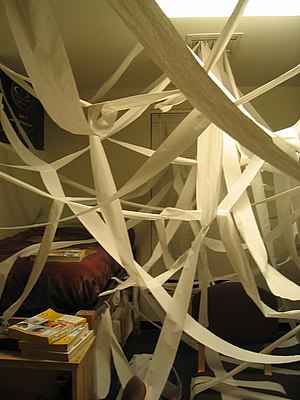 A room filled with toilet paper as a practical...
