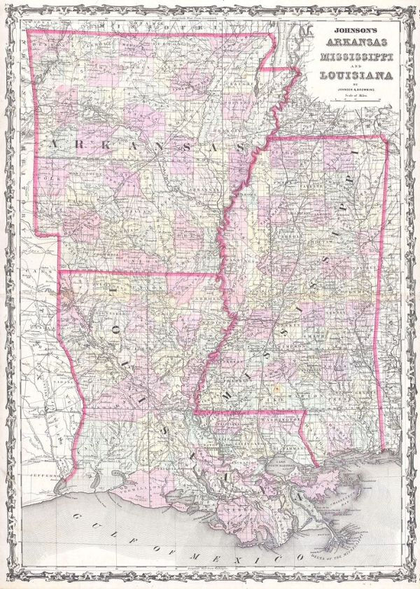 File1861 Johnson Map of Mississippi Louisiana Arkansas