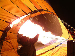 Hot air balloon being inflated by its propane ...