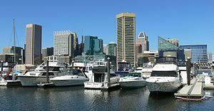English: A shot of Baltimore from the southeas...