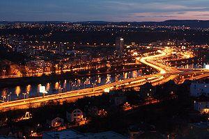 English: Prague - Barrandov bridge at night.