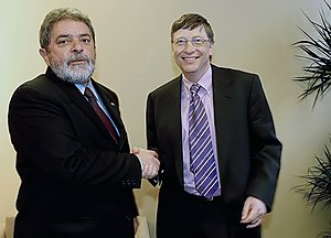 Bill Gates con el presidente brasileño Lula