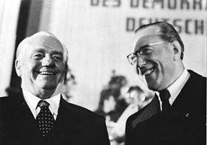 GDR leaders: President Wilhelm Pieck and Prime...