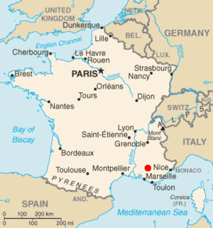 Location of Cadarache, France