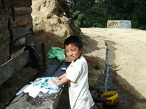 English: Child at work in Sandakphu, doing som...