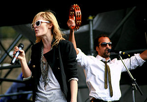 English: Emily Haines and bassist Josh Winstea...