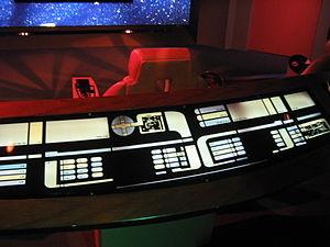 Michael Dorn (aka Worf) stood behind this rail...