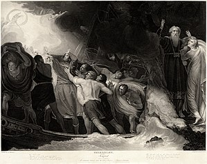 The shipwreck in Act I, Scene 1, in a 1797 eng...