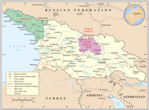 Map of Georgia showing the autonomous republic...
