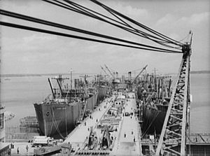 Fitting out of Liberty ships at the New Englan...