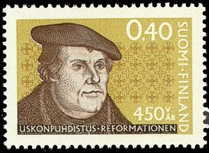 English: Postage stamp depicting Martin Luther...