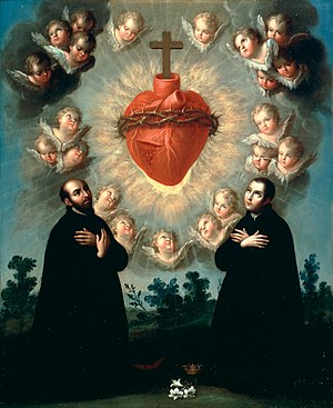 Sacred Heart of Jesus with Saint Ignatius of L...