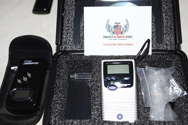 A breathalyzer http://commons.wikimedia.org/wiki/File:USMC-100911-M-3680M-004.jpg