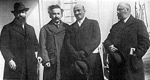 Menachem Ussishkin with Albert Einstein, Chaim...