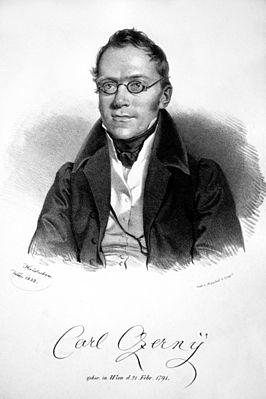 Carl Czerny, lithografie door Joseph Kriehuber, 1833