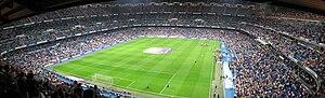 Inside of Santiago Bernabeu Stadium.