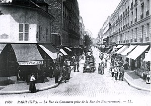 Commerce Street in Paris, 15th district, as se...