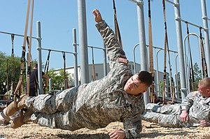 English: Picture of a modified plank exercise.