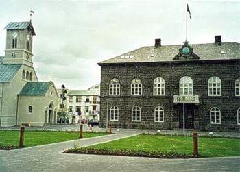 Parliament House, at Austurvöllur in Reykjavík...
