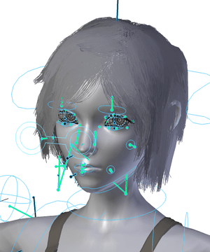 OpenGL render of the face rig of the main char...