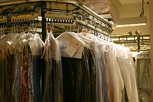 Many dry cleaners place cleaned clothes inside...