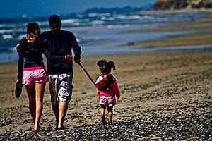 English: A family walking along a beach.