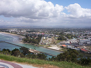 Coastal suburbs of Gisborne viewed from Kaiti hill