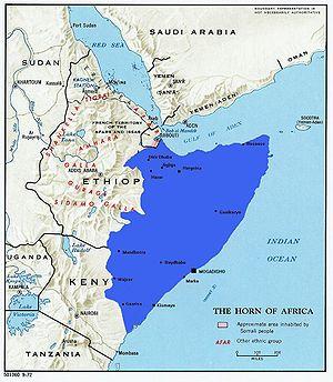 English: Greater Somalia drawn on old politica...