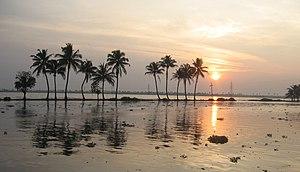Sunset in Kerala Backwaters, India