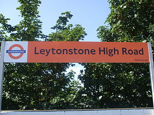 Leytonstone High Road station platform signage...