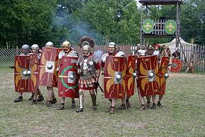 Reenactment of a Roman legion attack.