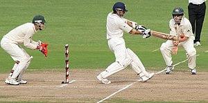 English: Indian batsman Sachin Tendulkar drive...