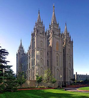 Salt Lake Temple in Salt Lake City, Utah, USA....