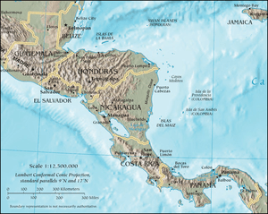 English: Map of Central America by the CIA Wor...