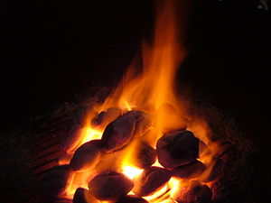 A coal and fire.