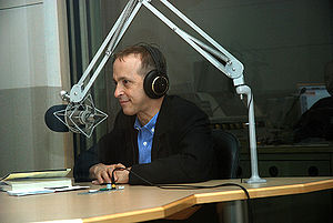 English: David Sedaris at WBUR studios in June...