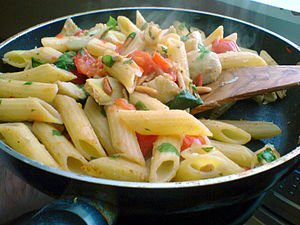 Penne with tomato, artichoke, basil and Pine nut