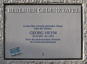 Berliner Gedenktafel für Georg Heym. Neue Kant...