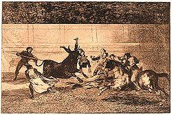 Cogida mortal de Pepe-Hillo en la Plaza de Madrid. El grabado, desechado por Goya, representa de forma muy fiel el momento de la cogida posterior al representado en el grabado 33, con el diestro cabeza abajo y con los pies en alto, mientras el picador Juan López carga contra el toro a caballo levantado.
