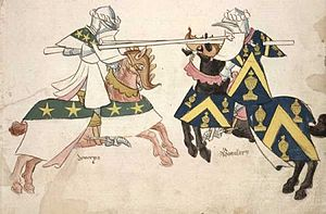 English: History of Medieval jousting tourname...