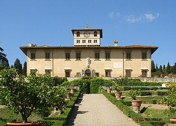 Frontal view of the Villa La Petraia