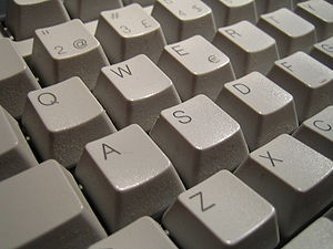 The keys of a typing keyboard.